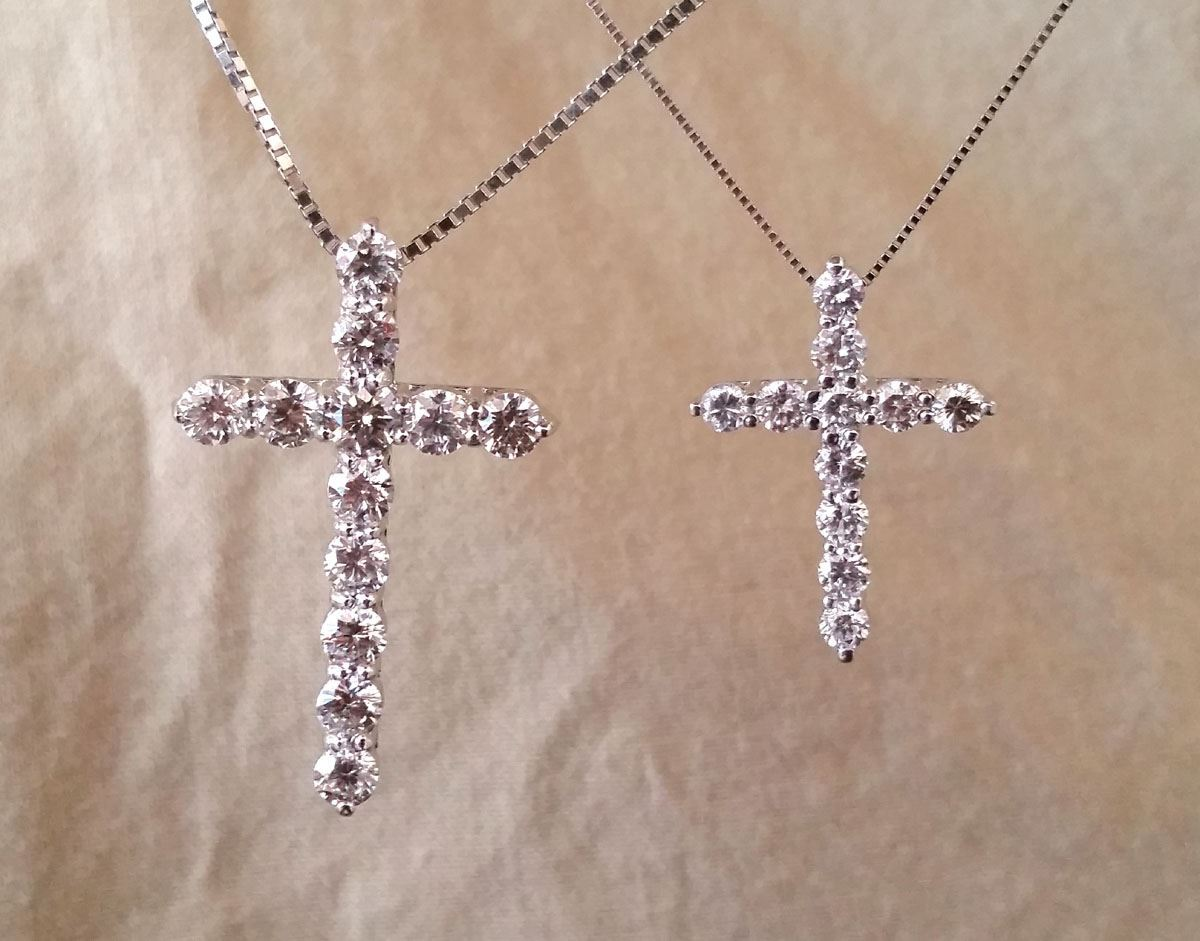 Picture of 14K White gold tiffany style diamond Cross pendants