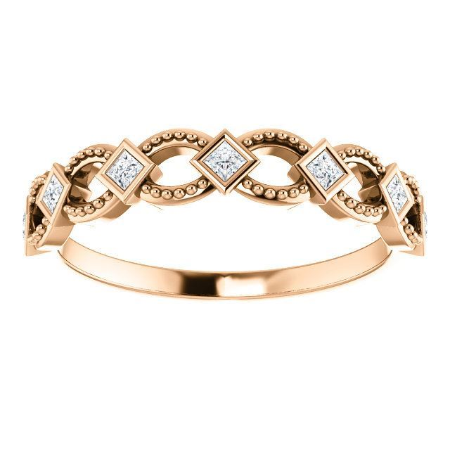 Picture of 14K Rose Diamond Stackable Ring
