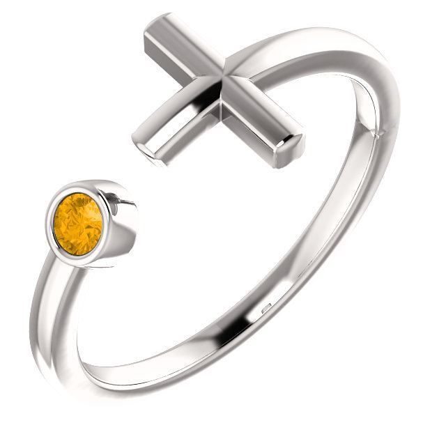 Picture of 14K Gold Birthstone Cross Ring