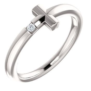 Picture of 14K Gold Diamond Youth Cross Ring
