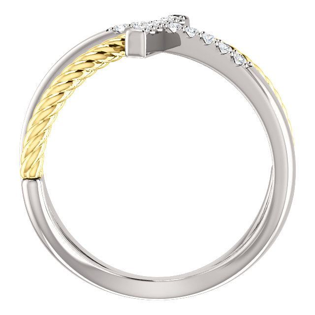 Picture of 14K White & Yellow Diamond Cross Rope Ring
