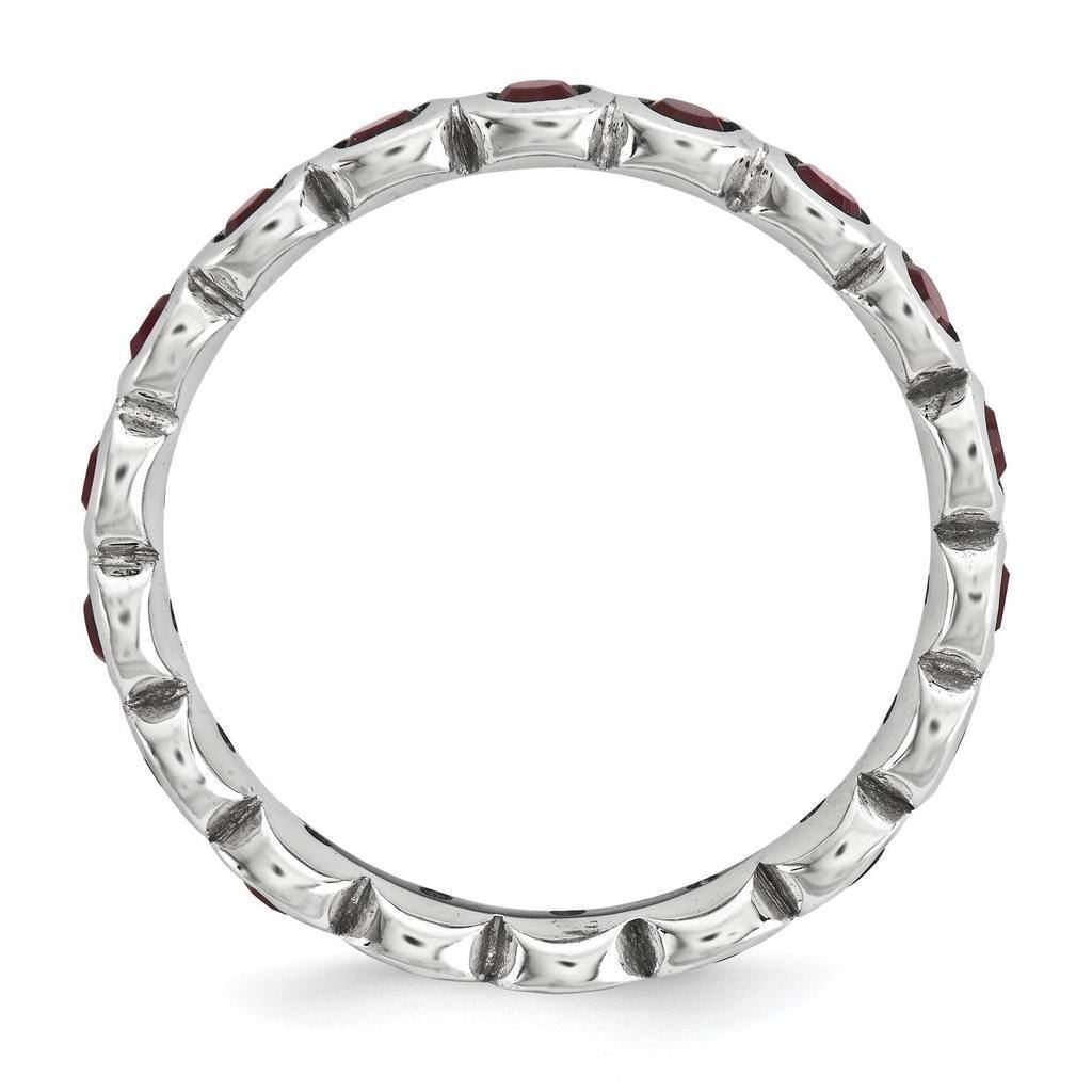 Picture of Silver Ring Round Swarovski Garnet stones