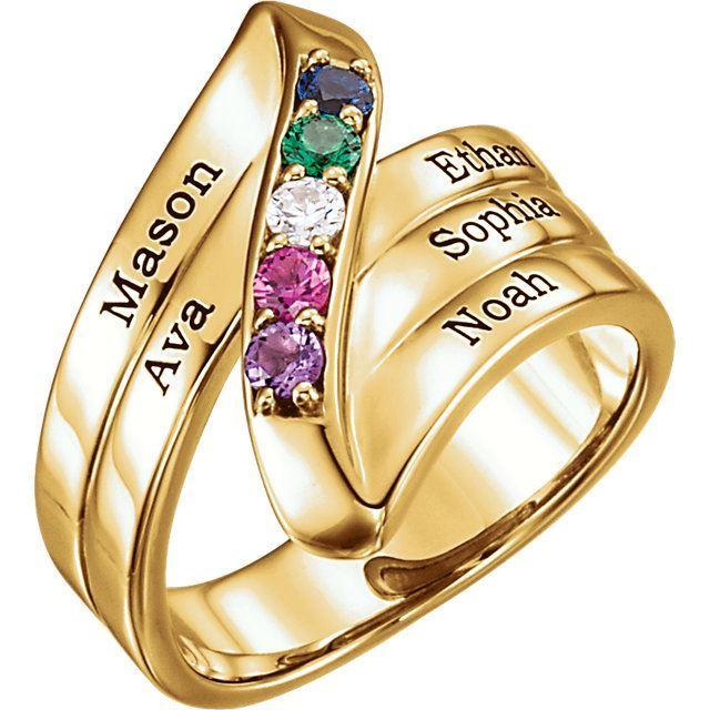 Picture of Gold 1 to 5 Stones/Names Engravable Mother Ring