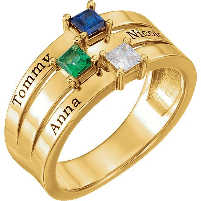 Picture of Gold 1 to 4 Square Stones Mother's Ring