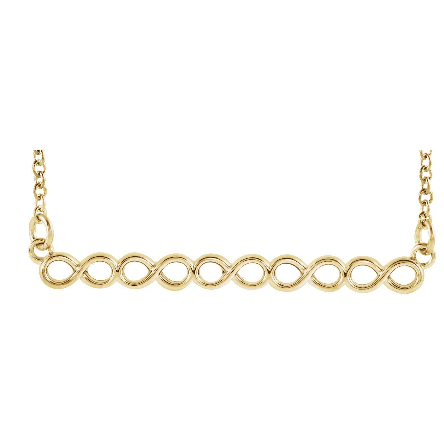 "Picture of 14K Gold Infinity-Inspired 16-18"" Bar Necklace"