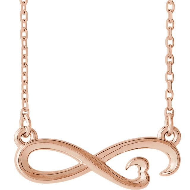 "Picture of 14K Gold Infinity-Inspired 18"" Heart Necklace"
