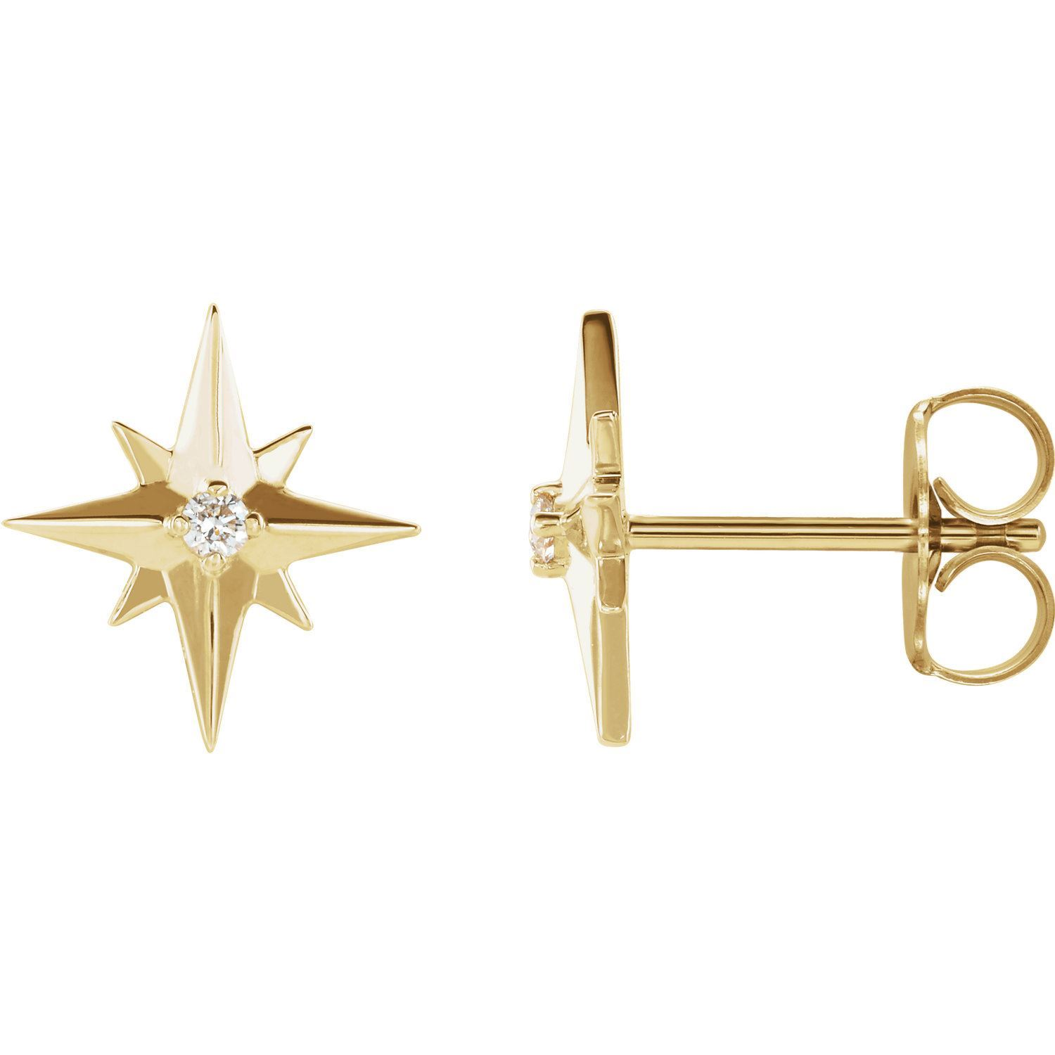 Picture of 14K White Accented Star Earring