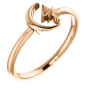 Picture of Crescent Moon & Star Ring 14K Gold