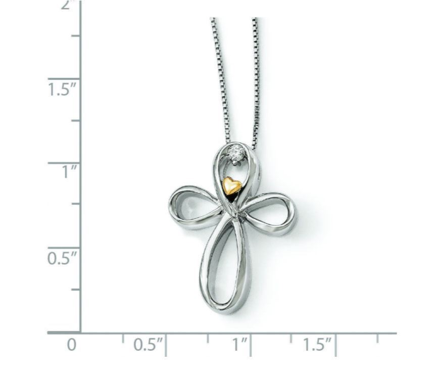 Picture of Silver & Gold Arms Of Love Diamond Cross Necklace