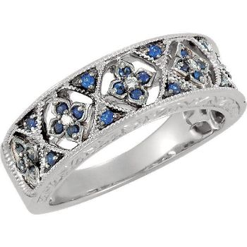 Picture of Blue Sapphire & Diamond 14K White Gold Ring