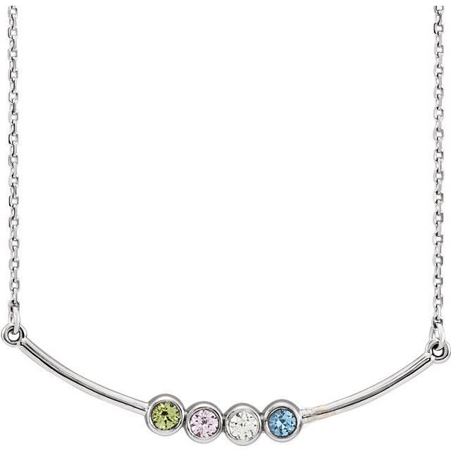 Picture of Silver 1 to 5 Stones Bar Family Necklace