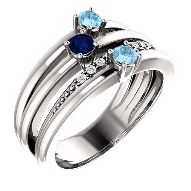 Picture of 1 to 5 Round Stones Mother's Ring