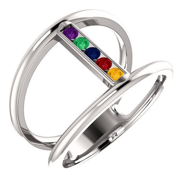 Picture of Silver 1 to 5 Stones Mother's Ring