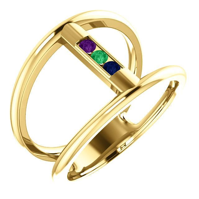 Picture of Gold 1 to 5 Stones Mother's Ring
