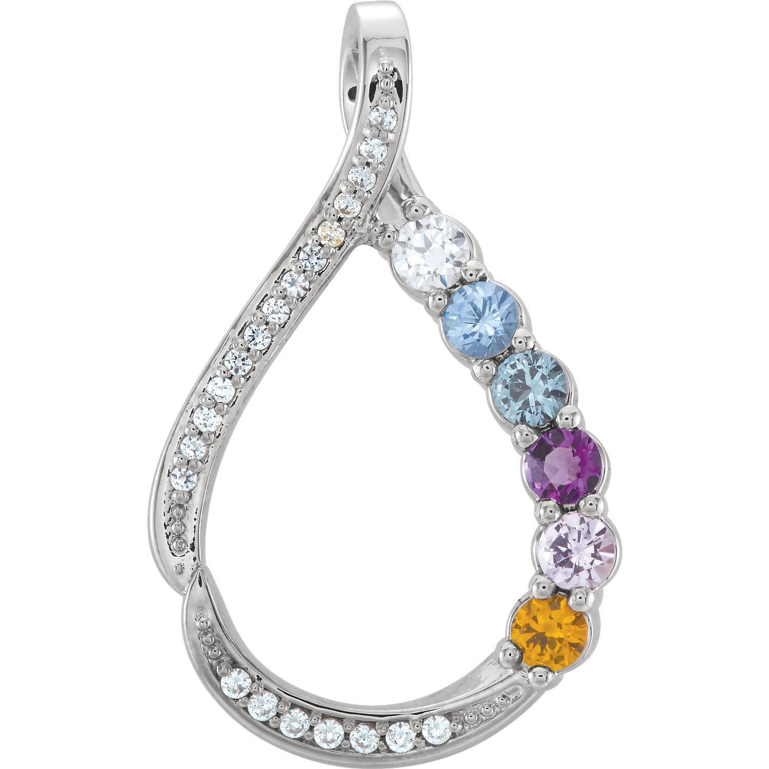 Picture of Silver 1 to 6 Round Stones Mother's Pendant