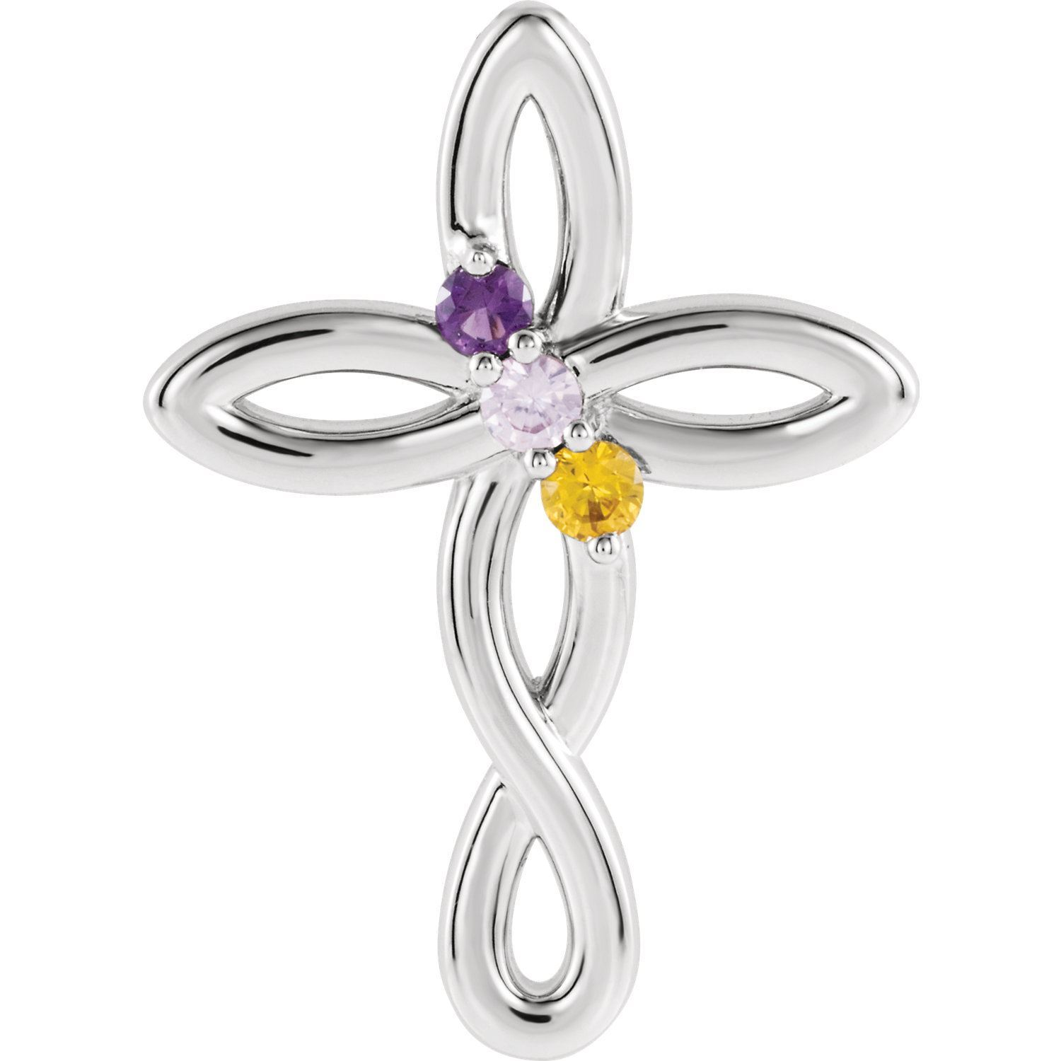Picture of Silver Cross 1 to 5 Stones Mother's Pendant