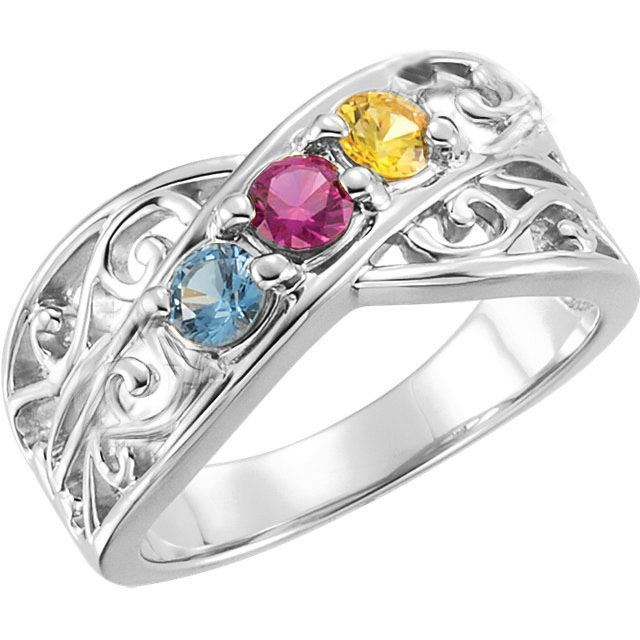 3 stones mom family ring