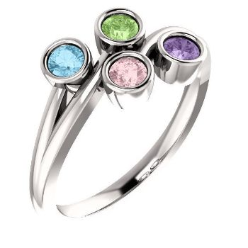 Picture of Silver 1 to 4 Round Stones Mother's Ring - copy