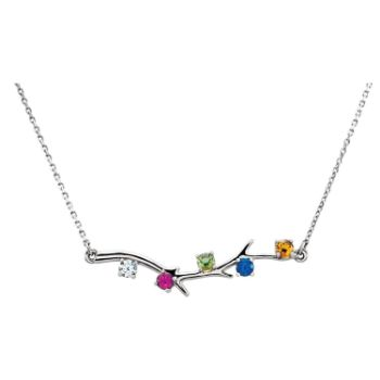 Picture of Family Branch Silver 1 to 5 Stones Mother's Necklace
