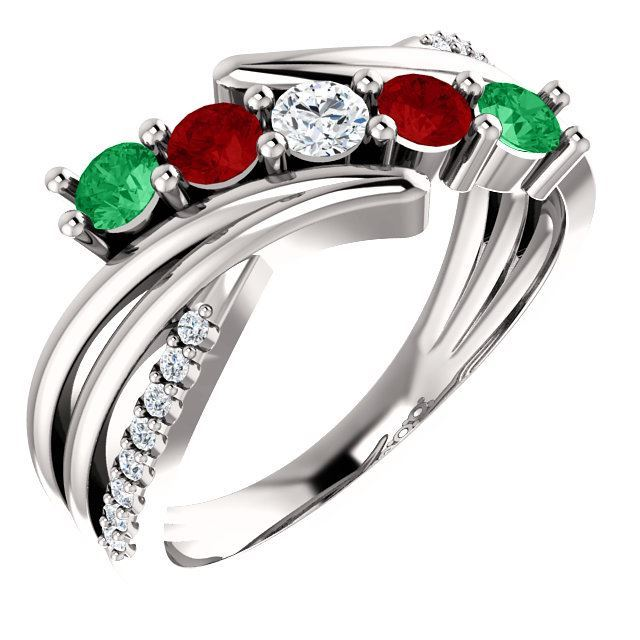 Picture of 1 to 5 Round Stones 10K or 14K Mother's Ring