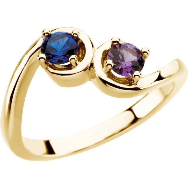 Picture of Gold 1 to 5 Round Stones Mother's Ring