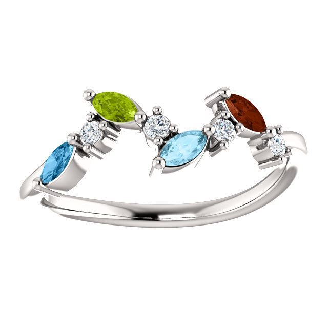 Picture of Silver 1 to 6 Marquise Stones Mother's Ring