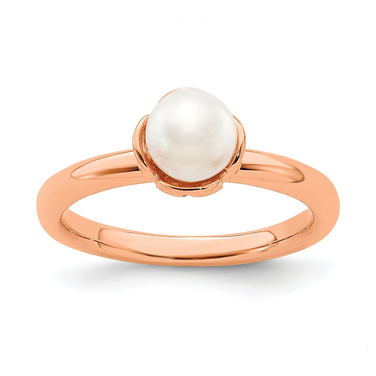 Picture of 18K Rose Gold Plated Silver Ring White Freshwater Pearl