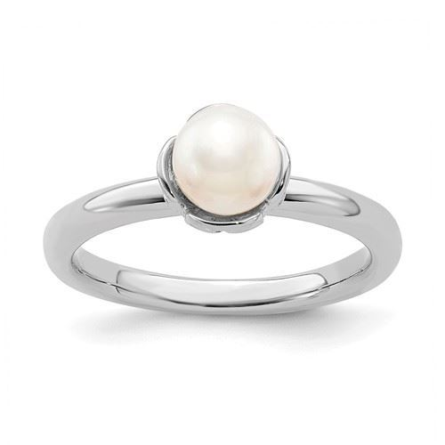 Picture of Silver Ring Rhodium Plated White Freshwater Pearl