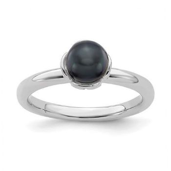 Picture of Silver Stackable Black Freshwater Pearl Ring