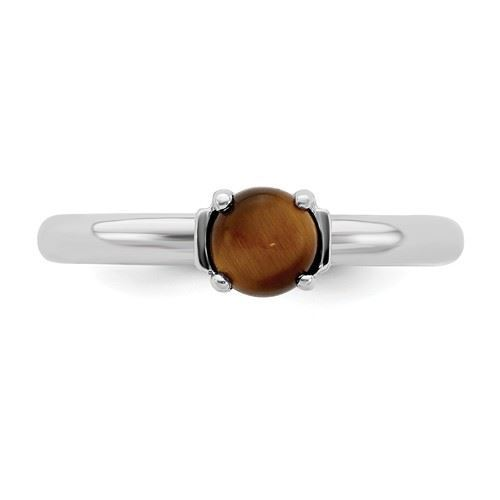 Picture of Sterling Silver Stackable Expressions Tigers Eye Rhodium-Plated Ring