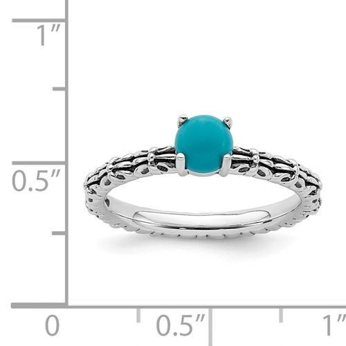 Picture of Silver Antiqued Ring Reconstituted Turquoise Stone