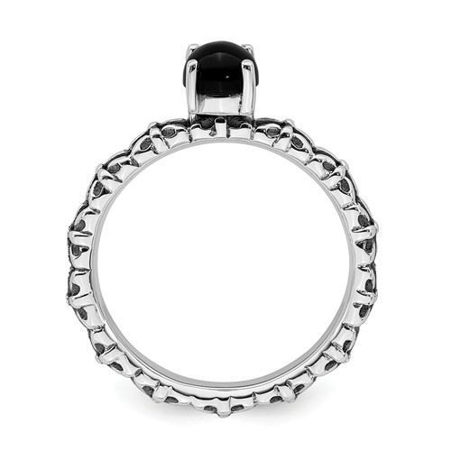 Picture of Silver Natural Black Agate Stone Antiqued Ring