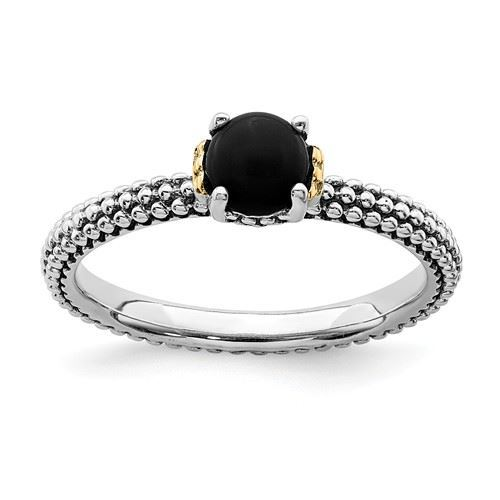 Picture of Silver Natural Onyx Stone Antiqued Ring