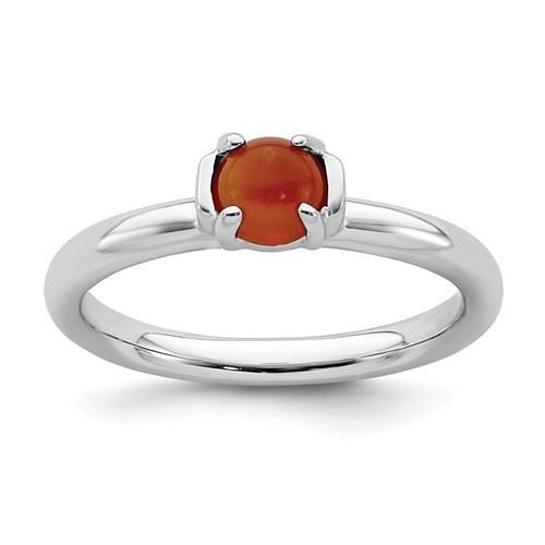 Picture of Silver Natural Red Agate Stone Ring