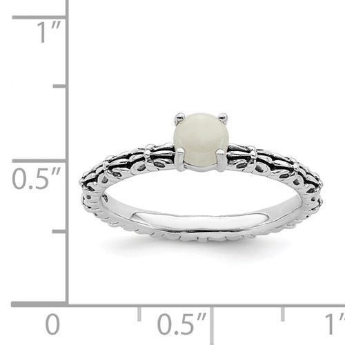 Picture of Silver Natural White Agate Stone Antiqued Ring