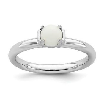 Picture of Silver Natural White Agate Stone Ring