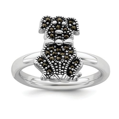 Picture of Silver Stackable Expressions Marcasite Dog Ring