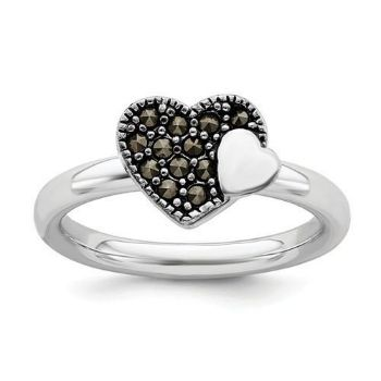 Picture of Silver Stackable Expressions Marcasite Heart Ring