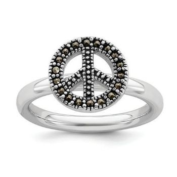Picture of Silver Stackable Expressions Marcasite Peace Sign Ring