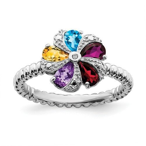 Picture of Sterling Silver Flower Ring Multi Color Gemstones