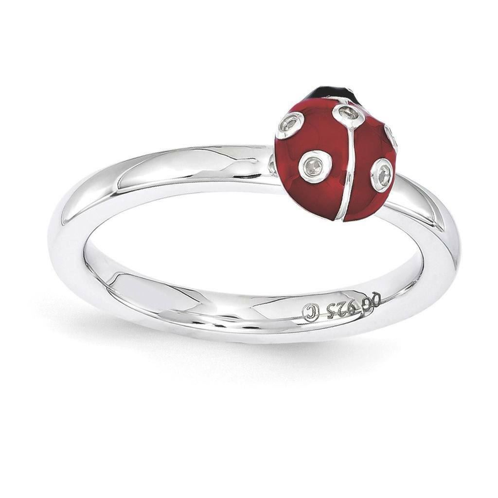 Picture of Silver Lady Bug Ring Red & Black Enameled