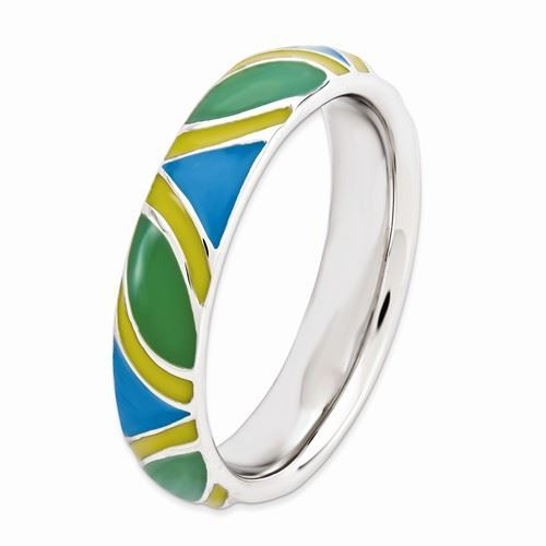 Picture of Silver Stackable Expressions Multi Color Enameled Ring