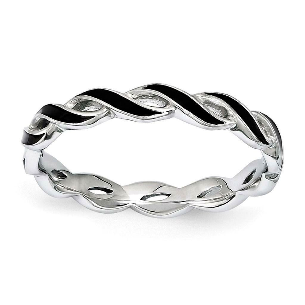 Picture of Sterling Silver Stackable Expressions Black Enamel Ring
