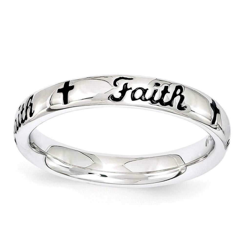 Picture of Sterling Silver Stackable Faith Ring Black