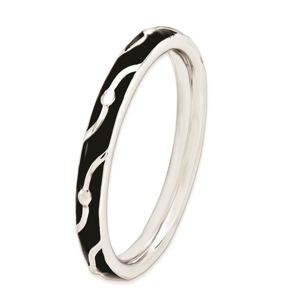 Picture of Sterling Silver Stackable Ring Black Enamel