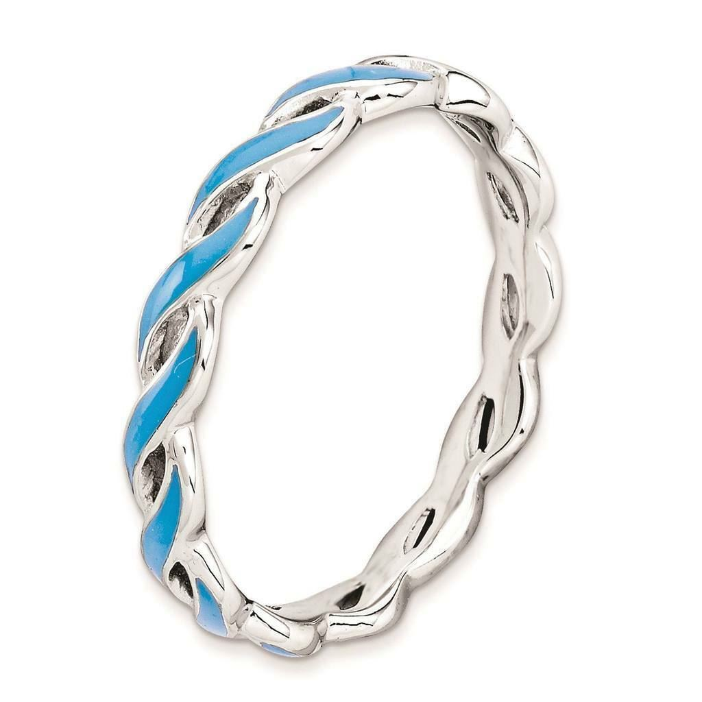 Picture of Sterling Silver Stackable Ring Blue Enamel