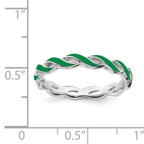 Picture of Sterling Silver Stackable Ring Green Enamel