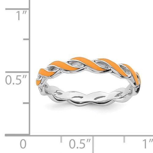 Picture of Sterling Silver Stackable Ring Orange Enamel