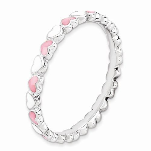 Picture of Sterling Silver Stackable Ring Pink & White Enamel