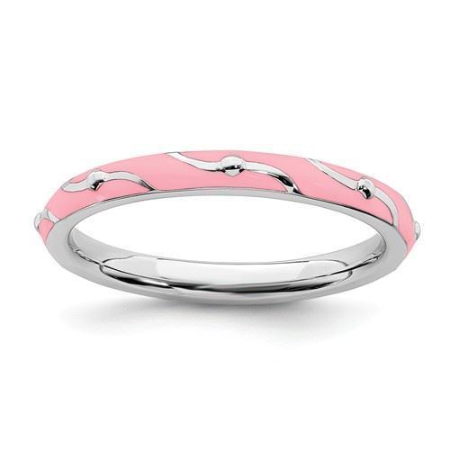 Picture of Sterling Silver Stackable Ring Pink Enamel